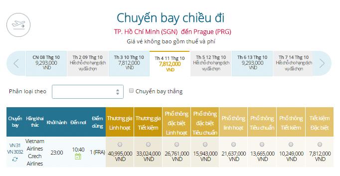 vé máy bay vietnam airlines TP.HCM - Cộng Hòa Séc