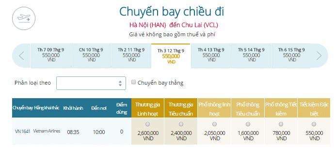Bảng giá vé máy bay đi Chu Lai Vietnam Airlines