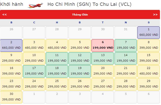Bảng giá vé máy bay HCM đi Chu Lai hãng VietJet Air