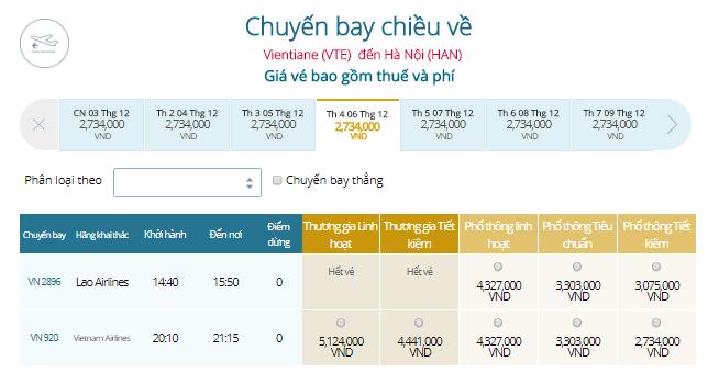 Vé máy bay Viên Chăn đi Hà Nội