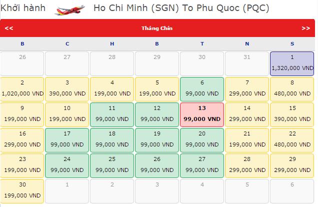 Tp.HCM - Phú quốc hãng VietJet Air