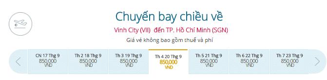 Vé máy bay Vietnam Airlines từ Vinh đi Sài Gòn