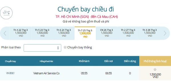 Giá vé máy bay đi Cà Mau khứ hồi giá bao nhiêu?