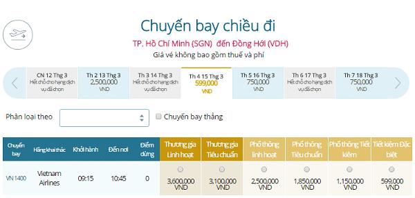 Giá vé máy bay đi Đồng Hới khứ hồi giá bao nhiêu?