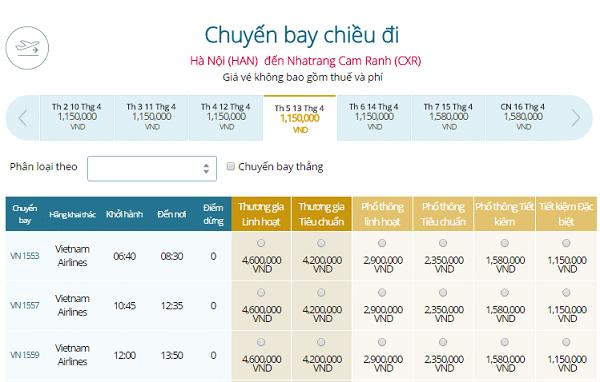 Giá vé máy bay Hà Nội đi NhaTrang Vietnam Airlines tháng 4-5-6