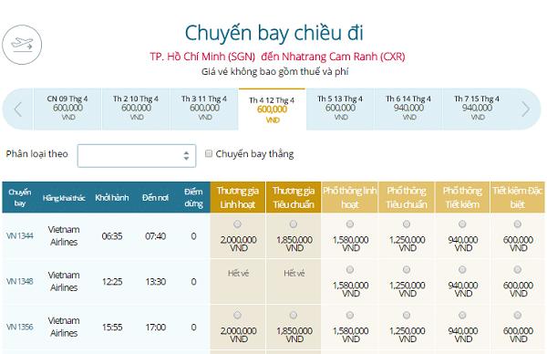 Giá vé máy bay đi Nha Trang từ Sài Gòn Vietnam Airlines tháng 4-5-6