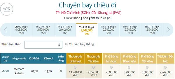 Đặt Mua Vé Máy Bay đi Thượng Hải Giá Rẻ VIETNAM AIRLINES