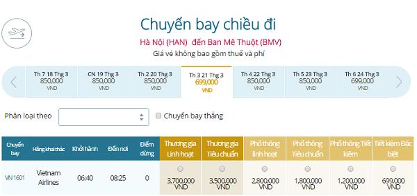 Vé máy bay đi Buôn Ma Thuột khứ hồi giá bao nhiêu?