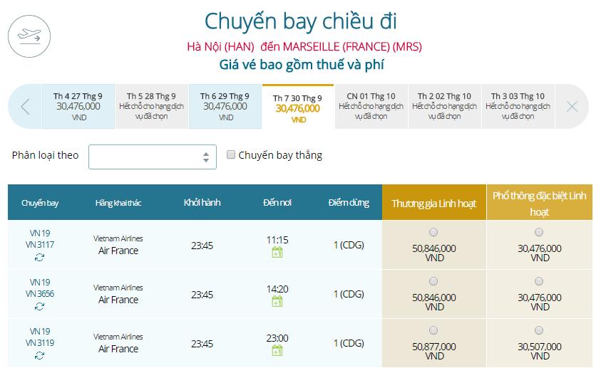 Bảng giá vé máy bay đi Marseille mới nhất