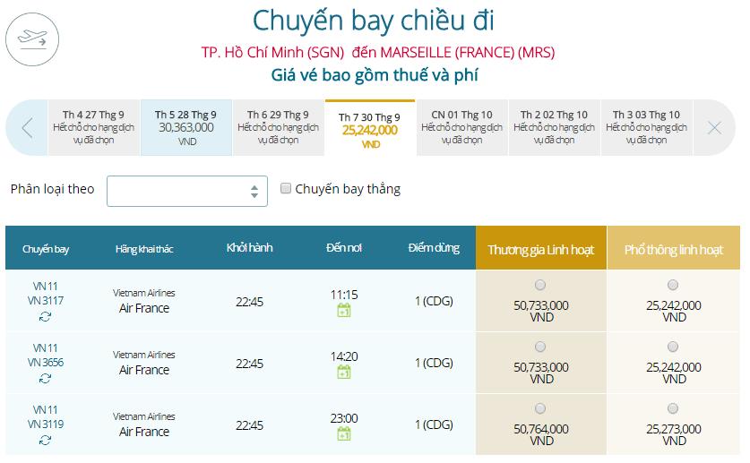 Bảng giá vé máy bay TPHCM đi Marseille