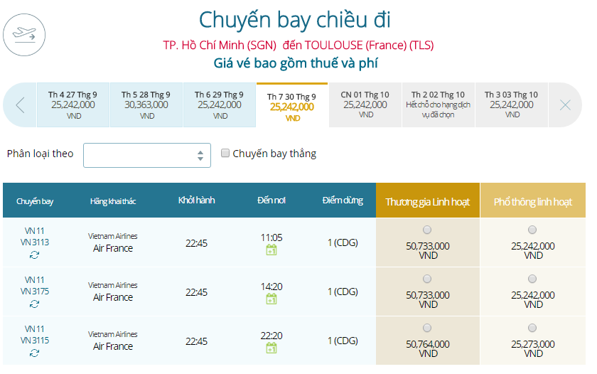 Bảng giá vé máy bay từ TPHCM đi Toulouse