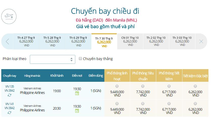Giá vé máy bay Đà Nẵng đi Manila Vietnam Airline mới nhất