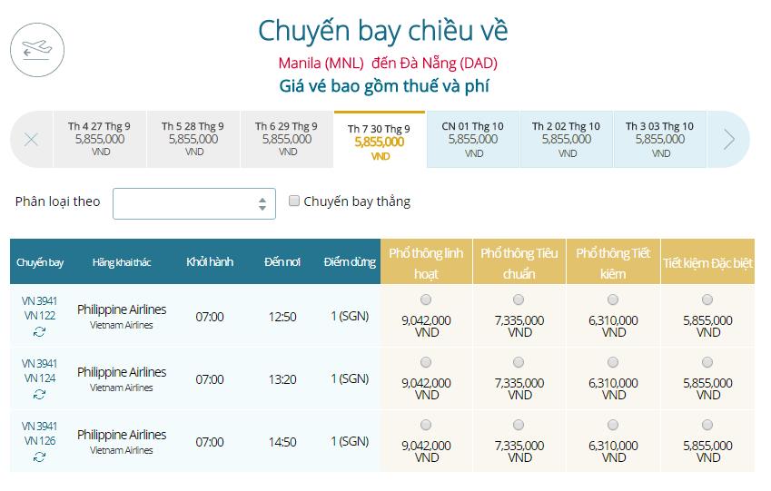 Giá vé máy bay Manila đi Đà Nẵng Vietnam Airline mới nhất