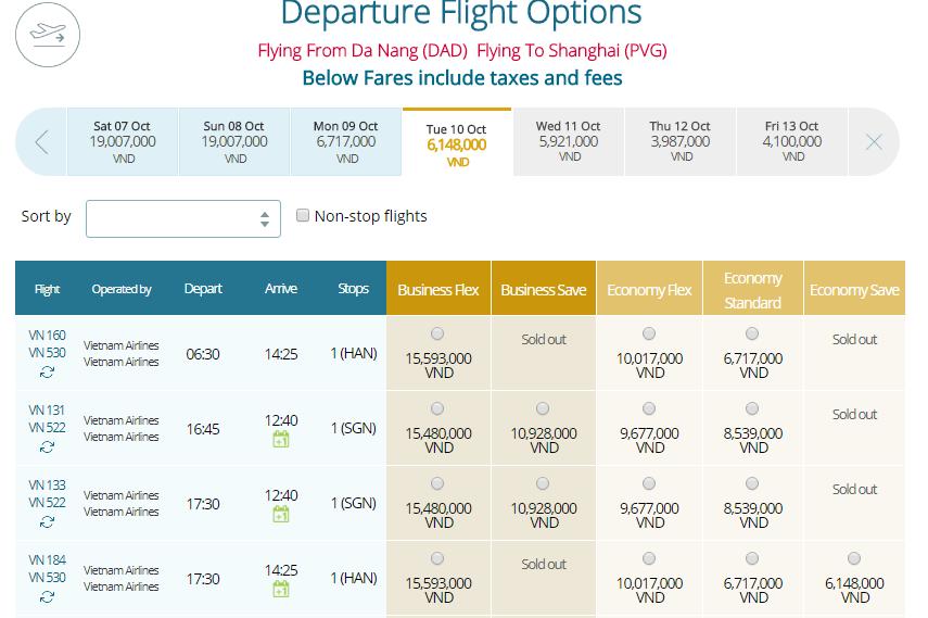 Giá vé máy bayđi Thượng Hải từ Đà Nẵng
