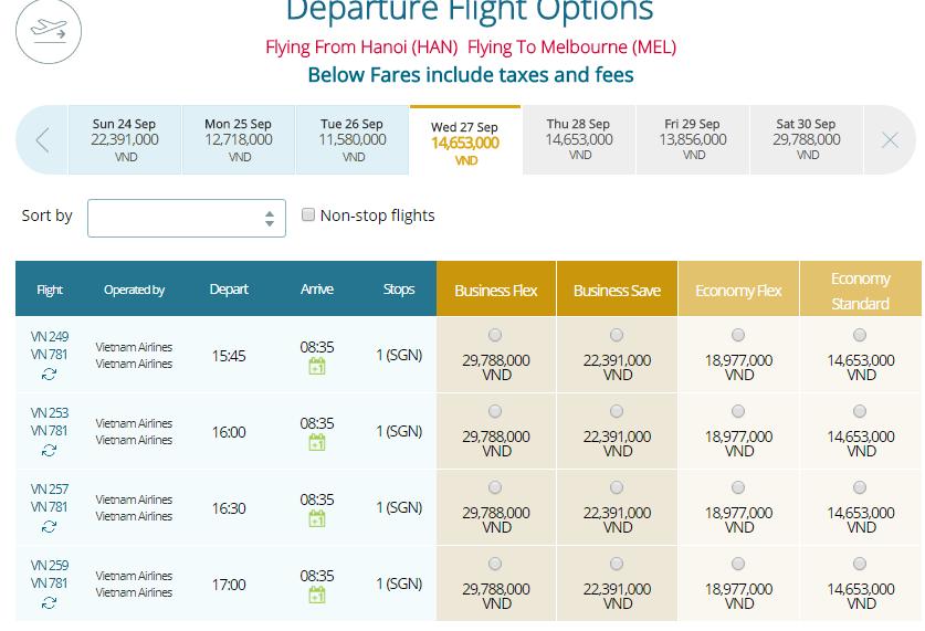 Thông tin vé máy bay Vietnam Airlines Hà Nội đi Melbourne