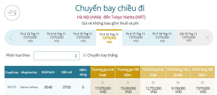 Bảng giá vé máy bay đi Tokyo Nhật Bản khởi hành từ Hà Nội