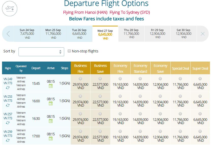 Thông tin vé máy bay Vietnam Airlines Hà Nội đi Sydney