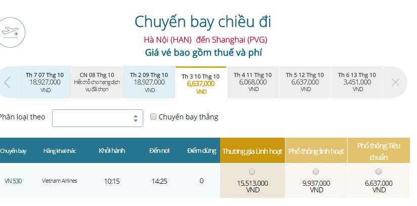 Bảng giá vé máy bay Vietnam Airlines Hà Nội đi Thượng Hải