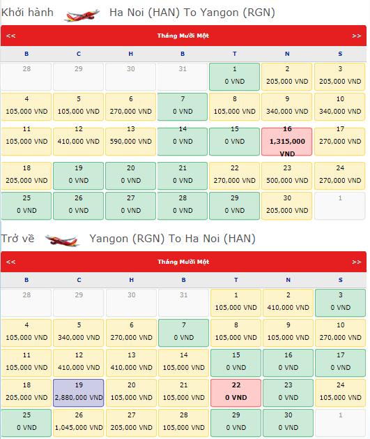 Giá vé máy bay từ Hà Nội đi Yangon Vietjet Air