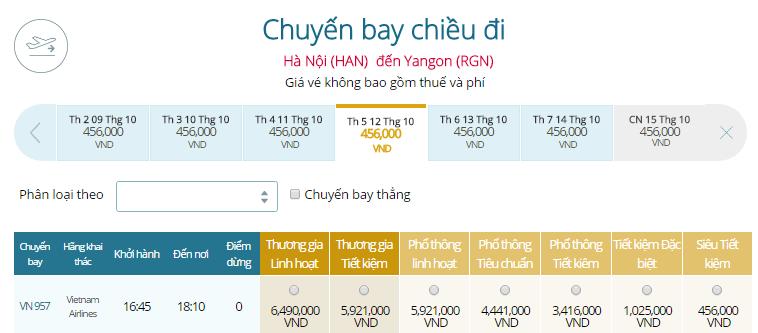 Bảng giá vé máy bay đi Myanmar khởi hành từ Hà Nội
