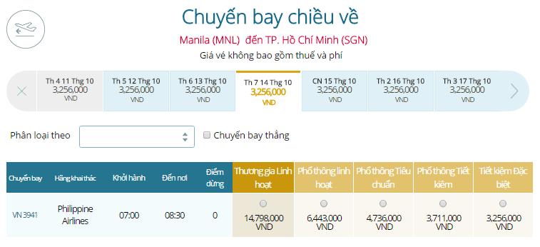 Bảng giá vé máy bay Vietnam Airlines đi Philippines từ TP.HCM