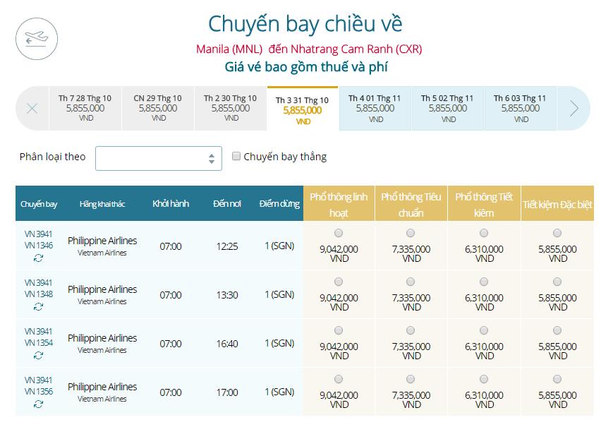 Giá vé máy bay Manila đi Nha Trang Vietnam Airline mới nhất