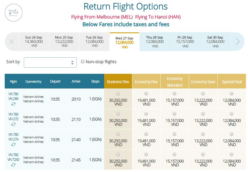 Thông tin vé máy bay Vietnam Airlines Melbourne đi TPHCM