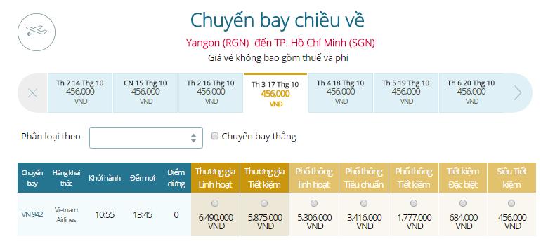 Bảng giá vé máy bay từ Yangon đi TP.HCM