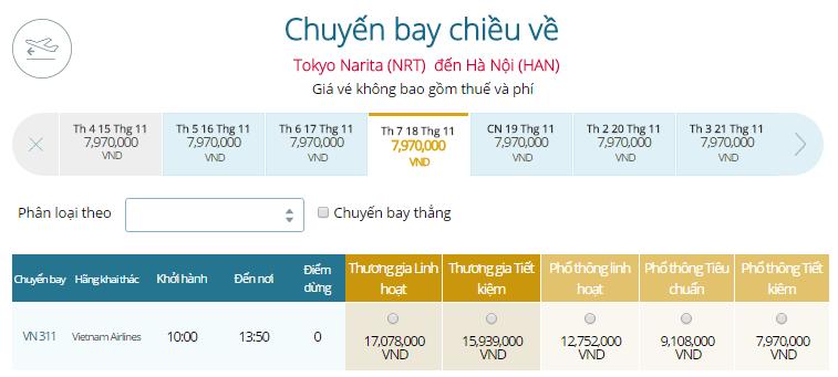 Vé máy bay Vietnam Airlines Nhật Bản - Hà Nội