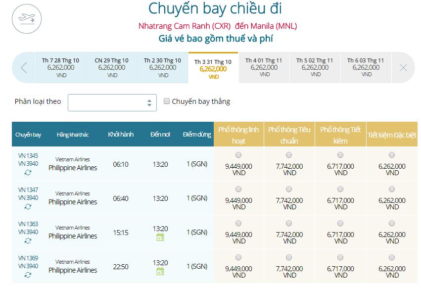 Giá vé máy bay Nha Trang đi Manila Vietnam Airline mới nhất