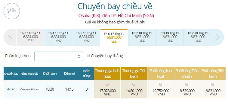 Vé máy bay Vietnam Airlines Chặng Bay TP.HCM - Nhật Bản