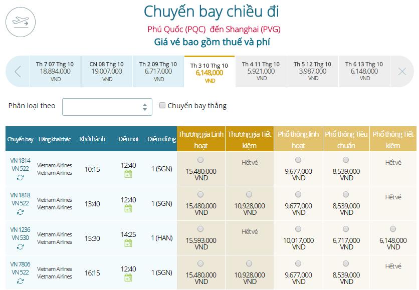Giá vé máy baytừ Phú Quốc đi Thượng Hải