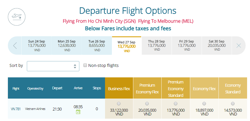 Thông tin vé máy bay hãng hàng không Vietnam Airlines đi Melbourne