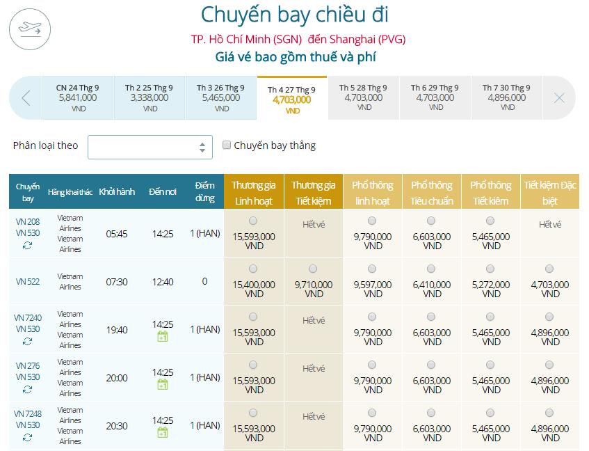 Bảng giá vé máy bay đi Thượng Hải khởi hành từ TP.HCM