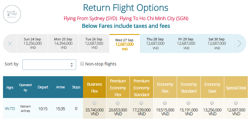 Thông tin vé máy bay Vietnam Airlines Sydney đi TPHCM