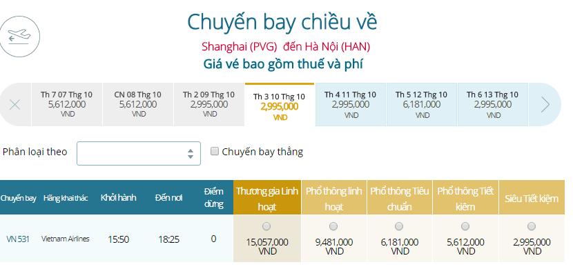 Bảng giá vé máy bayVietnam Airlines Thượng Hải đi Hà Nội