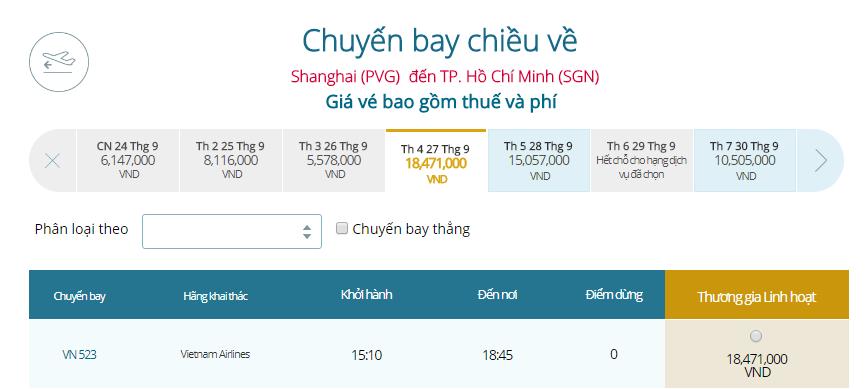 Bảng giá vé máy bay Thượng Hải đi TP.HCM
