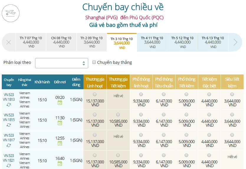 Giá vé máy bayđi Phú Quốc từ Thượng Hải