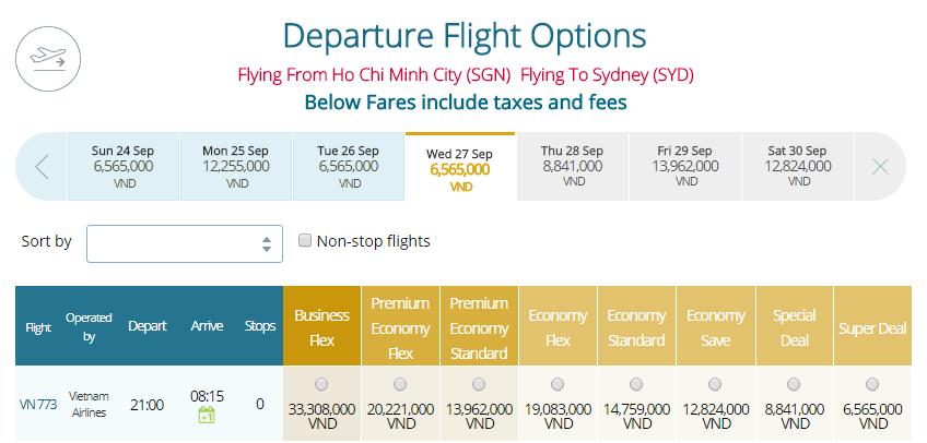 Thông tin vé máy bay Vietnam Airlines TPHCM đi Sydney