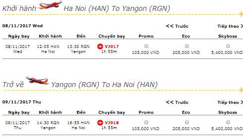 Giá vé máy bay từ Hà Nội đi Yangon hãng Vietjet Air