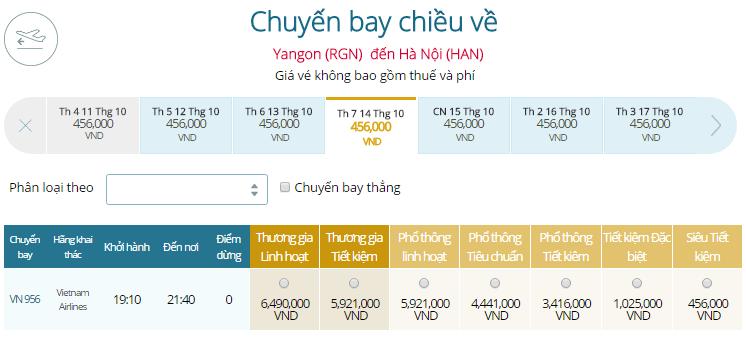 Bảng giá vé máy bay từ Yangon đi Myanmar