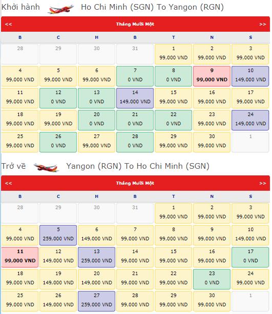 Giá vé máy bay từ TPHCM đi Yangon Vietjet Air