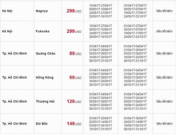 Giá vé máy bay Vietnam Airlines gái rẻ hè 2017 đi các nước Đông Bắc Á