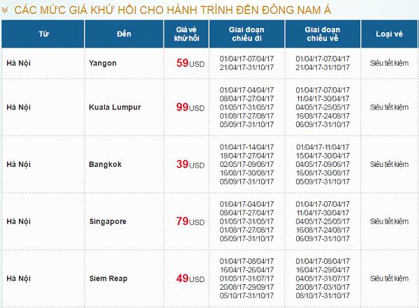 Giá vé máy bay Vietnam Airlines gái rẻ hè 2017 đi các nước Đông Nam Á