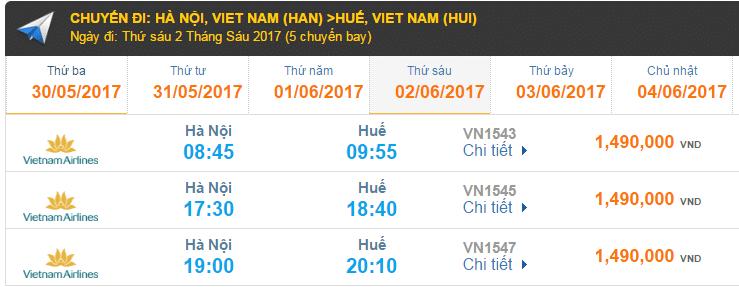 Vé máy bay Vietnam Airlines đi Huế