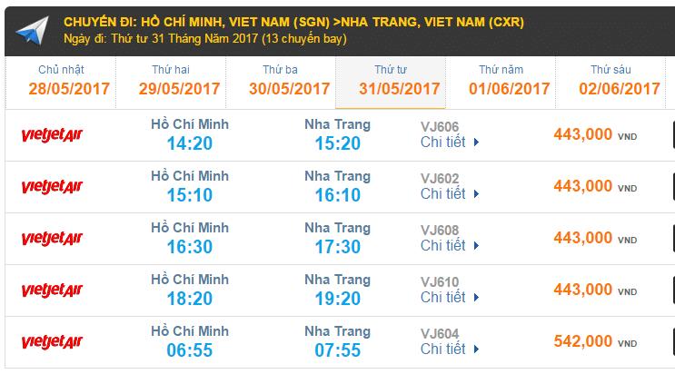 Giá vé máy bay hãng Vietjet Air giá rẻ đi Nha Trang