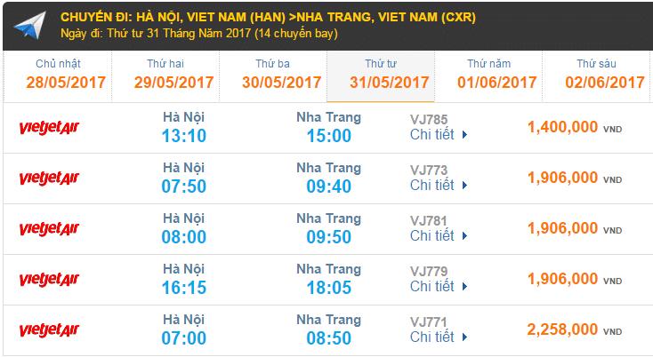 Giá vé máy bay hãng Vietjet Air đi Nha Trang