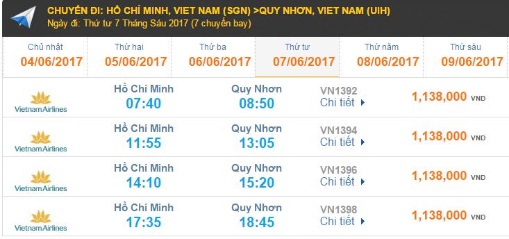 Giá vé máy bay hãng Vietnam Airlines đi Quy Nhơn