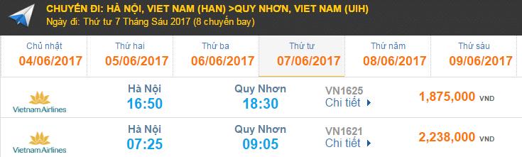 Giá vé máy bay hãng Vietnam Airlines giá rẻ đi Quy Nhơn