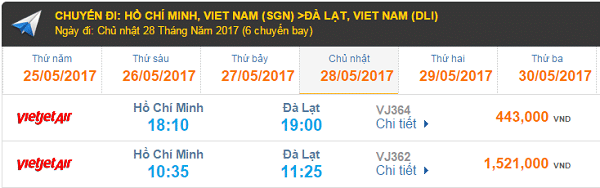 Giá vé máy bay Vietnam Airlines đi Đà lạt cập nhật tháng 08